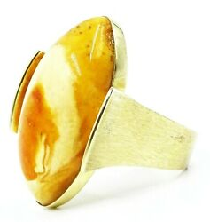 HANDMADE VINTAGE Unique 18ct Yellow Gold & Large Amber Ring