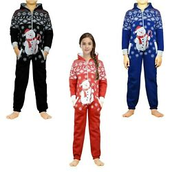 Kids Girls Boys Novelty Christmas Snowman Hooded One Piece Pajama Jumpsuit $21.49