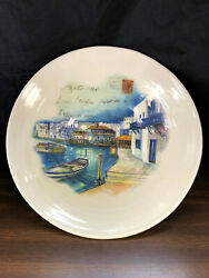 CERAMICA CUORE  Made in Italy Large Serving Bowl 12'' Ocean Front Post Card