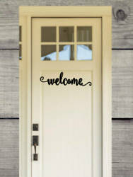 Welcome - Front Door Vinyl Decal - Many Sizes - Curb Appeal - Home