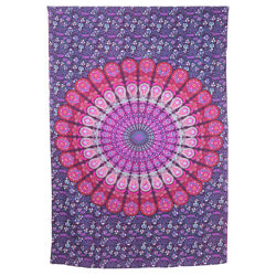 Multi-color Peacock Mandala Tapestry Wall Hanging Bedspread Twin Ombre Tapestry