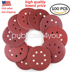 100PC 5 inch 8 Hole Hook and Loop Round Sandpaper Discs Sanding Sheets US