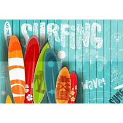Surfing Blue Wooden Photography Backdrop Summer Party Banner Backdrop $13.99