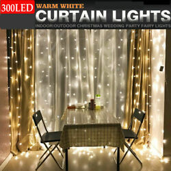 300 LED 3m Fairy Curtain String Lights Wedding Party Room Decor Holiday NEW $4.93