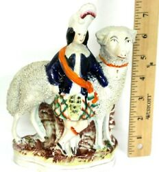 Staffordshire Antique Spill Figure Man w Prized Sheep