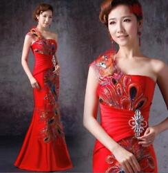 Formal Evening Dresses Mermaid Prom Chinese Wedding Dress Peacock Feathers R438 $76.56