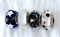 PRE 4 Pandora Silver Glass Midnight Stars IN The Sky white Clear  Beads Charm #d