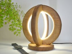 Desk lamp of natural oak made by hands wooden table light wood rustic lamp $85.00