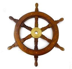Well Pack Box Wooden Captains Ship Wheel Solid Wood Great Pirate or Nautical 18