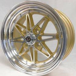 4 ~ 16x7 G-Line White Diamond WD-8008 Gold Custom Wheels 4x100 +30mm