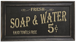 Soap amp; Water Sign Nostalgic Farmhouse Rustic Decor Bathroom Vintage Wall Art $18.99