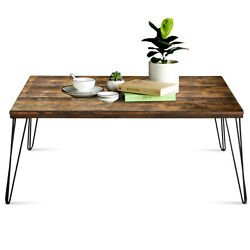 Coffee Table w Wooden Design Metal Legs Large Tabletop for Living Room Walnut