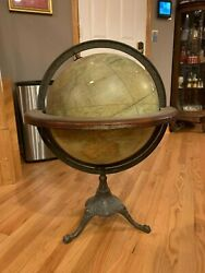 HUGE GORGEOUS ANTIQUE C.F. WEBER & Co 18 INCH TERRESTRIAL GLOBE WITH CAST STAND