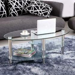 Tempered Glass Oval Side Coffee Table Shelf Chrome Living Room Decor Clear $55.99