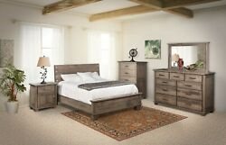 Amish Modern 5-Pc Bedroom Set Solid Wood Queen King Low Foot Board Gray Grey USA