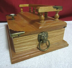 Mens Jewelry Box ~ Solid Wooden Valet Organizer with Accents ~ EUC!