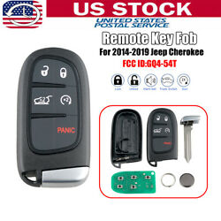 For 2014-2019 Jeep Cherokee Keyless Entry Remote Smart Key Fob GQ4-54T 4A chip