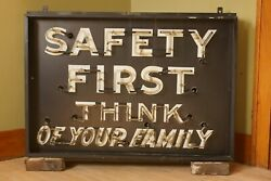 Vintage Neon Sign Rath Packing Co. Waterloo IA Safety First Think of Your Family