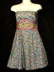 BETSEY JOHNSON GARDEN FLORAL BLUE RUNWAY FIT amp; FLARE Strapless Dress SZ 6