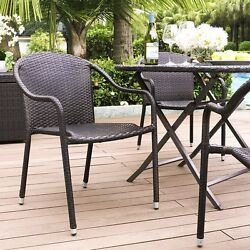 Crosley Palm Harbor Outdoor Wicker Stackable Chairs Set of 4 Brown CO7109-BR New