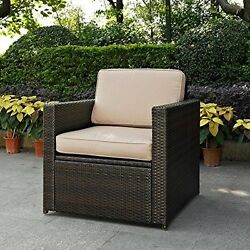 Crosley  Palm Harbor Outdoor Wicker Arm Chair In Brown With Sand Cushions