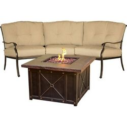 Hanover Traditions 2pc Fire Pit Set - 1 Durastone Fire Pit 1 Crescent Sofa