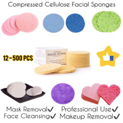 Face Sponges ⭐ (12-500 Pieces) Natural Compressed Cellulose Facial Sponges