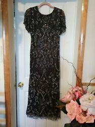 Formal Party Dress. Long Gown Heavily Beaded Handmade. Gray Sparkle. $112.00