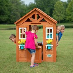 Cedar Wooden Playhouse Summer Cottage Wood Play House Shelter Kids Playground