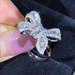 Fashion Bow-Knot White Topaz Gemstone Silver Ring Size 5 6 7 8 9 10 11 Jewelry
