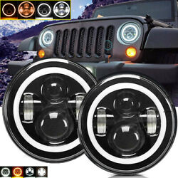 Pair 7inch Round Total LED Headlights HiLo for 97-17 JEEP JK TJ LJ Wrangler BT