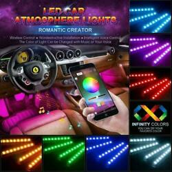 4x 48 LED Car LED Lights Strip With Bluetooth App Controller Interior Lights
