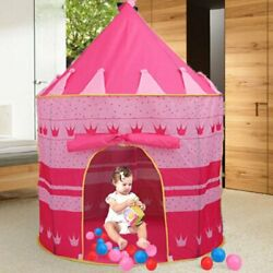 NEW PORTABLE FOLDING PINK PLAY TENT CHILDRENS KIDS CASTLE CUBBY PLAY HOUSE US MY