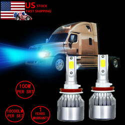 Ice blue H11 LED Headlight bulb For 08-17 Freightliner Cascadia Commercial Truck