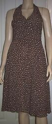DEBUT Brown Polka Dot Halter neck Lined Summer Cocktail Party Dress Size 10