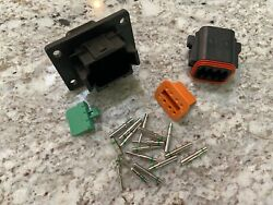 Deutsch DT 8 Pin Flange Connector Kit 14 16 AWG Solid green band pin USA $20.00