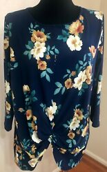 AJ Women's Blue Floral ¾ Sleeve Gather Front Top Plus Size 2XL $9.00