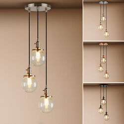 Globe Chandelier Lighting Fixture 3 Hanging Clear Glass Bubble Clustered Pendant $229.90