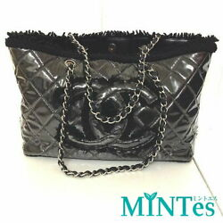 CHANEL Matorasse chain Tote black vinyl shoulder bag here mark (94077