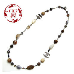 Chanel natural stone long necklace here mark 102cm P number (108590