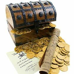 Large Wooden Pirate Treasure Chest 144 Plastic Gold Coins Map Commission Toys