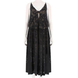 Stella McCartney Black Nude Sheer Daisy Patterned Summer Dress IT42 UK10