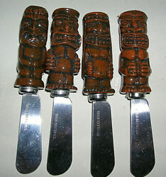 Set 4 Tiki Stainless Steel Spreaders Knives for Hummus Soft Cheese Salsa Dip Etc