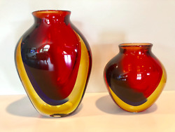 Monumenal Murano Pair of Sommerso glass vases by Luigi Onesto Signed on Base $1299.00