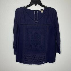 Lucky Brand Periwinkle Boho Top Shirt Womens Size Medium