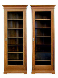 FINE PAIR OF EARLY 20TH CENTURY WALNUT BOOKCASE CABINETS