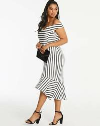STRIPE BADORT FISHTAIL DRESS UK SIZE 16 EU44 US12 L48'BACK