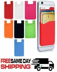 Silicone Credit Card Pocket Sticker Pouch Holder Case Adhesive For Cell Phone