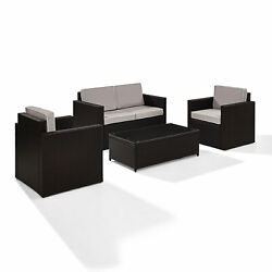 Palm Harbor 4 Piece Outdoor Wicker Seating Set With Gray Cushions - Loveseat...