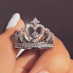 Romantic Crown Crown Zircon Heart Crystal Bridal Wedding Ring Jewelry Band Gift